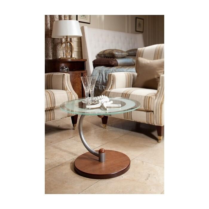 Стол журнальный Мебелик Дуэт 13Н металлик/средне-коричневый/прозрачное