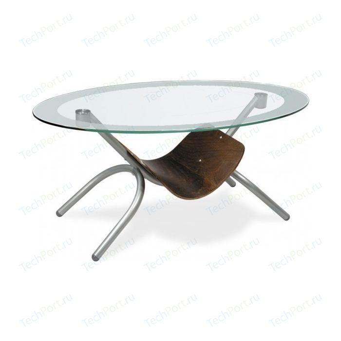 Стол журнальный Мебелик Дуэт 2 металлик /прозрачное
