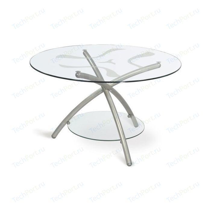 Стол журнальный Мебелик Дуэт 3 металлик/прозрачное стекло