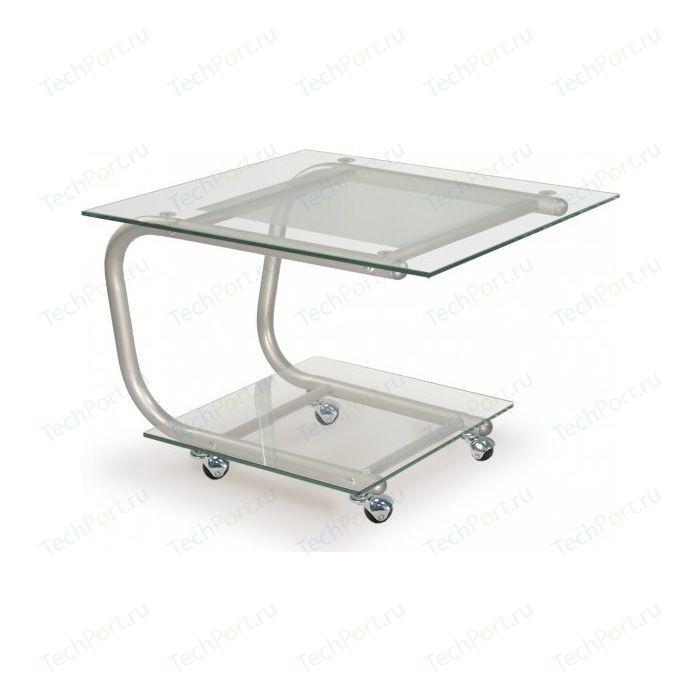Стол журнальный Мебелик Дуэт 9 металлик/прозрачное