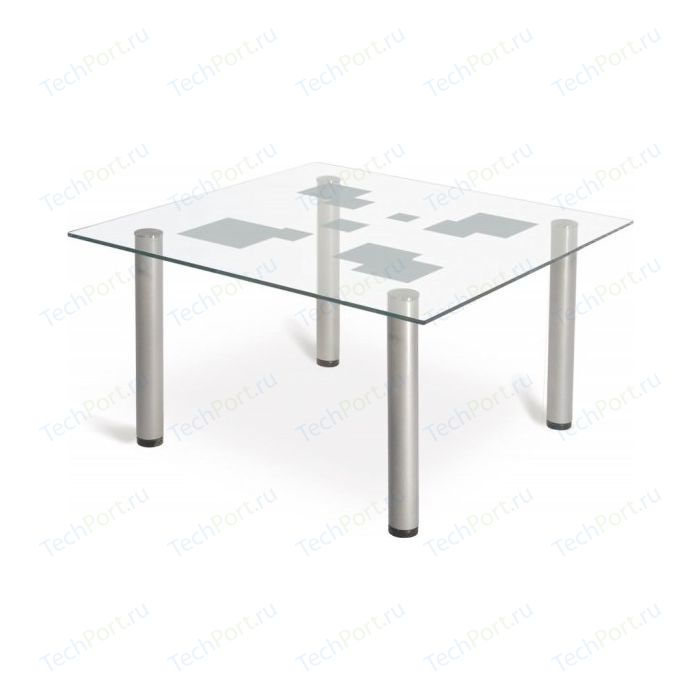 Стол журнальный Мебелик Робер 9М металлик/прозрачное