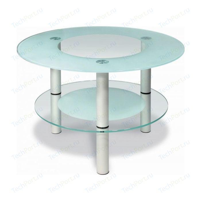 Стол журнальный Мебелик Кристалл 3 алюминий/прозрачное