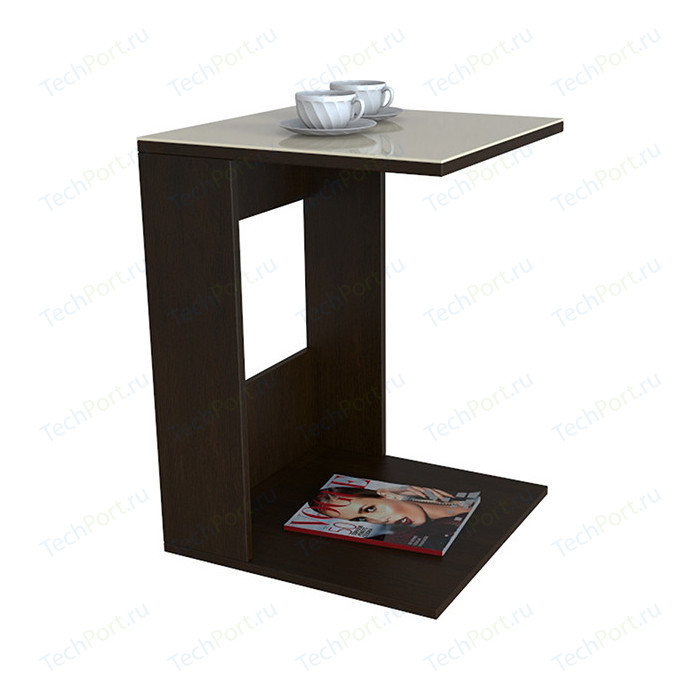 Стол журнальный Мебелик BeautyStyle 3 венге/стекло бежевое