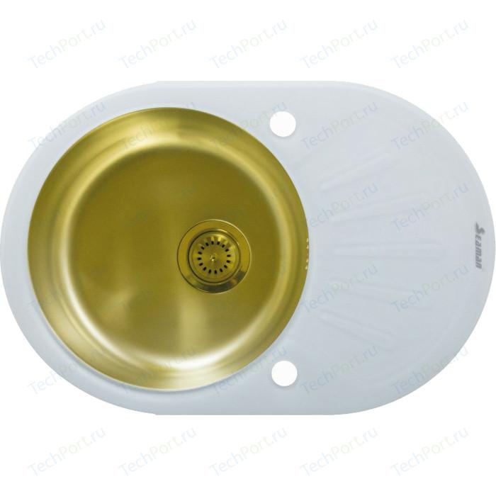 Кухонная мойка Seaman Eco Glass SMG-730W.B Gold PVD