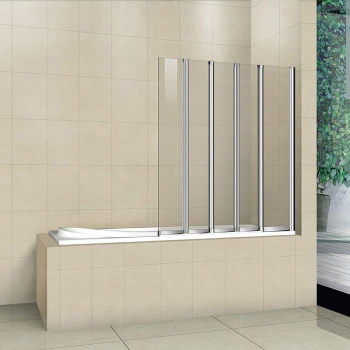 Шторка на ванну Cezares Pratico V-5-120 универсальная, прозрачная, хром (PRATICO-V-5-120/140-C-Cr)