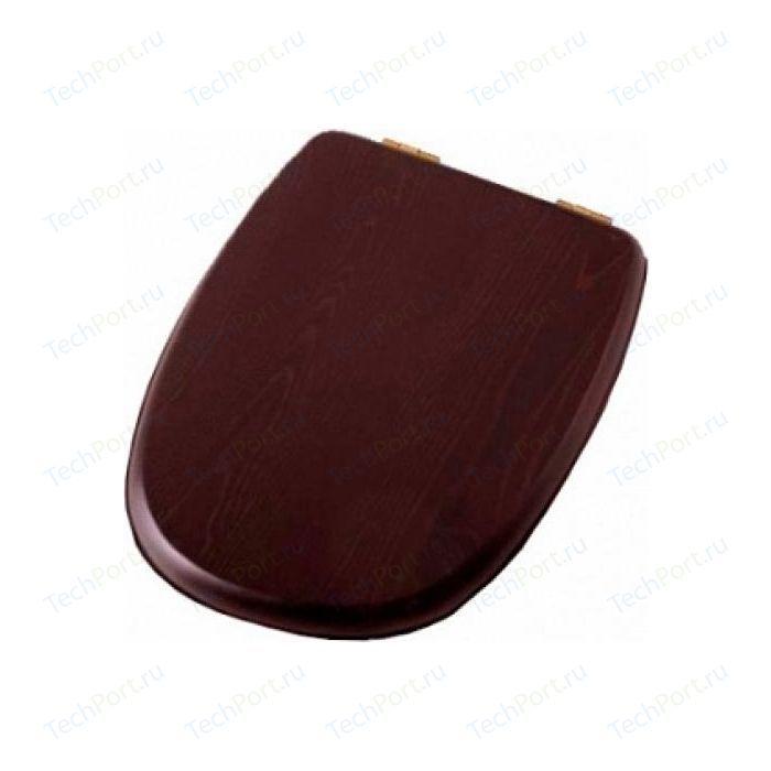 Сиденье для унитаза Cezares Primo деревянное орех микролифт фурнитура золото (CZR-166-W-S-G/CZR-T-166-W-S-G)