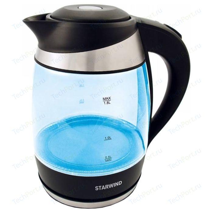 Чайник электрический StarWind SKG2218 голубой/черный чайник электрический starwind skg2212 оранжевый черный