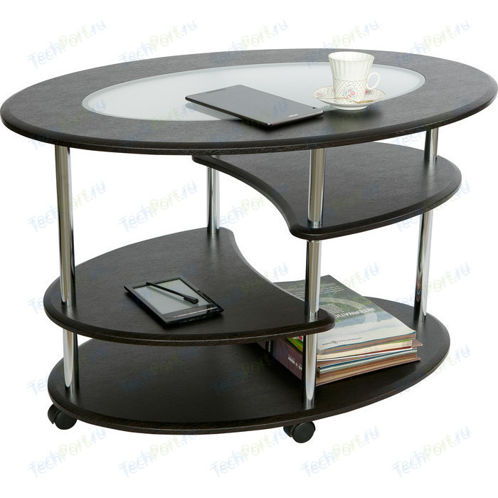 Стол журнальный Калифорния мебель Эллипс со стеклом СЖС-01 венге стол журнальный калифорния мебель маэстро сжс 02 со стеклом дуб венге