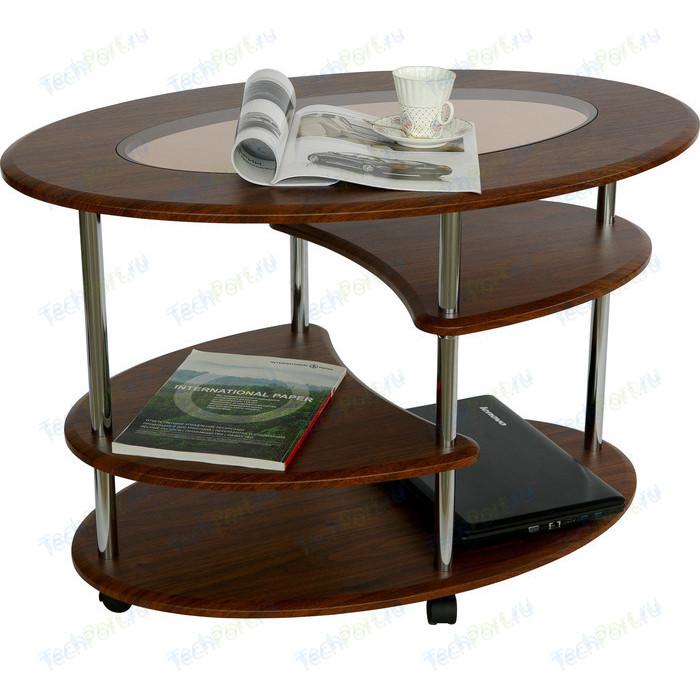 Стол журнальный Калифорния мебель Эллипс со стеклом СЖС-01 орех недорого