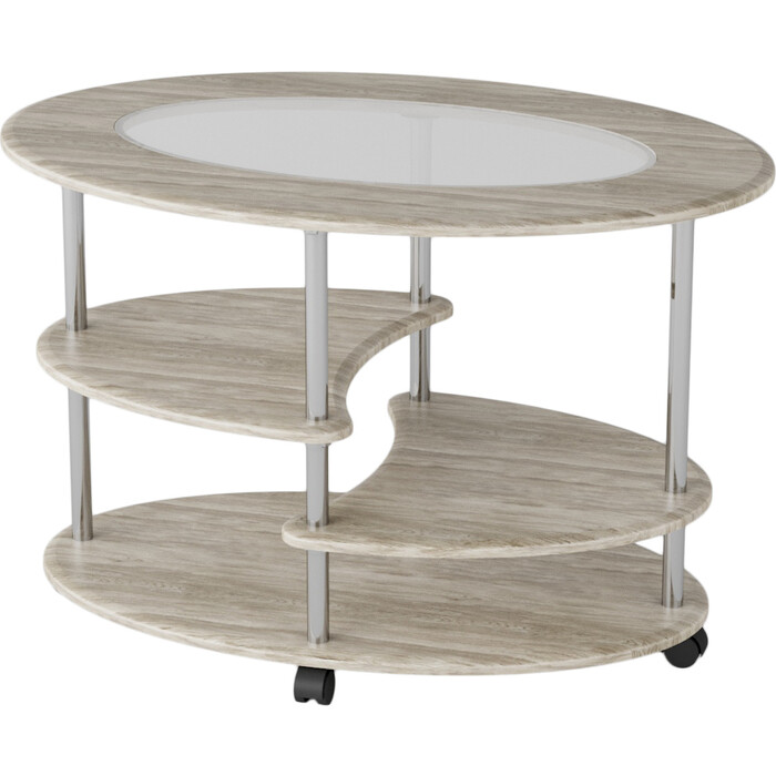 Стол журнальный Калифорния мебель Эллипс со стеклом СЖС-01 дуб стол журнальный калифорния мебель юпитер со стеклом дуб сонома