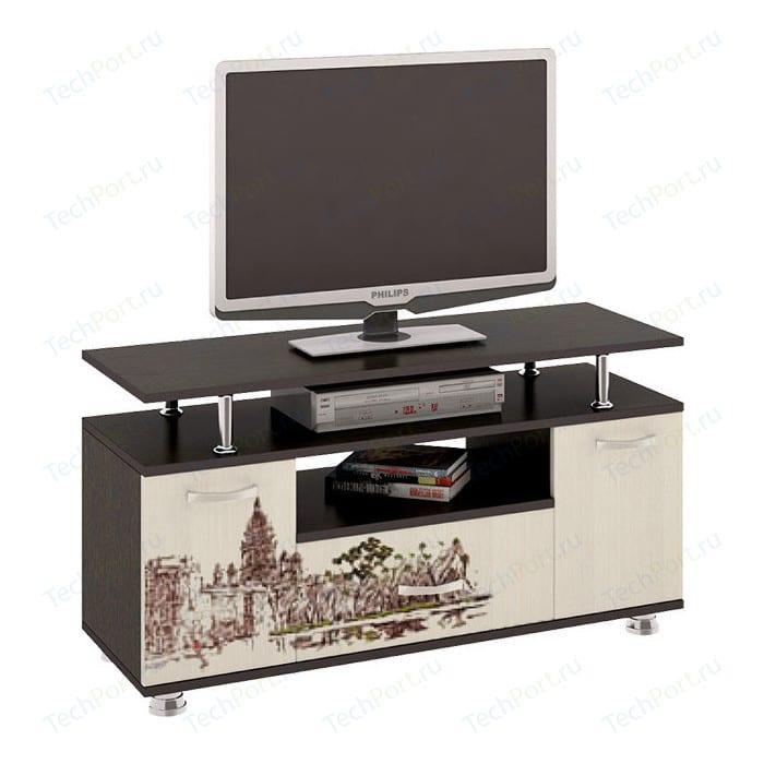 Тумба ТриЯ TV-15 с рисунком венге цаво/дуб молочный стол компьютерный трия школьник класс м с рисунком венге цаво дуб молочный