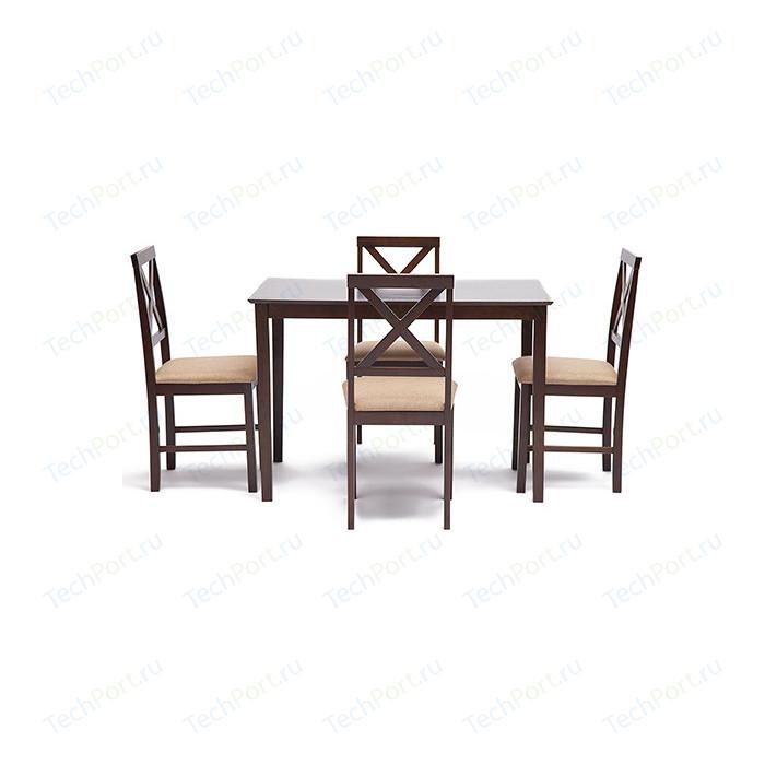 Обеденный комплект эконом TetChair Хадсон (стол + 4 стула)/ Hudson Dining Set, cappuccino (темный орех)