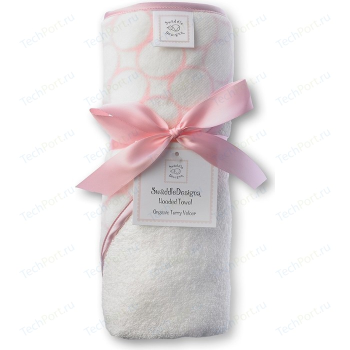 Полотенце с капюшоном SwaddleDesigns Hooded Towel - Organic Pink Mod on IV (SD-071PP)