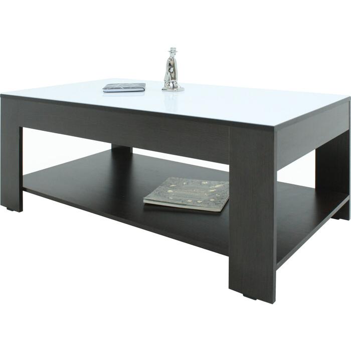 Стол журнальный Мебелик BeautyStyle 26 венге/стекло белое