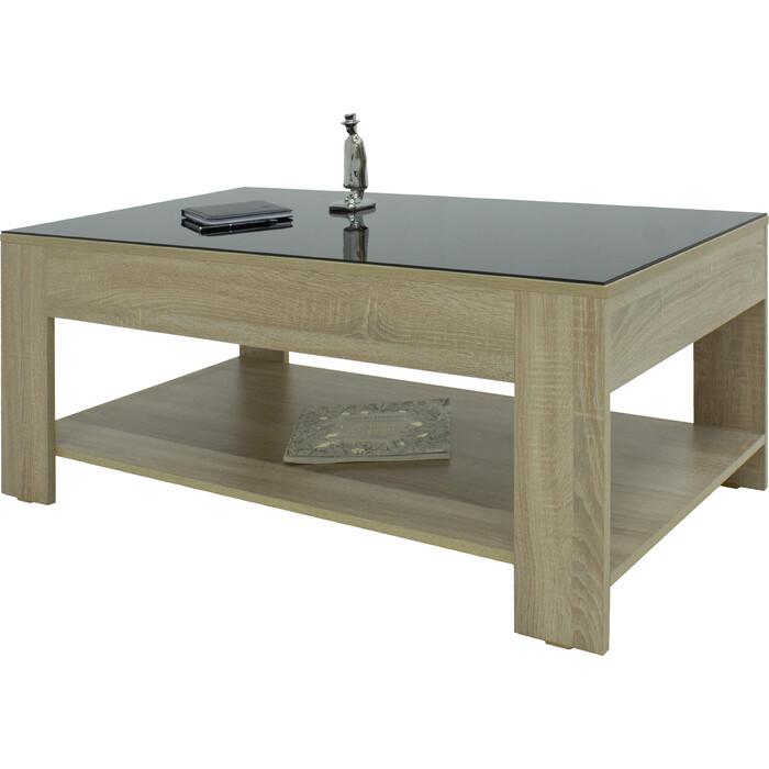 Стол журнальный Мебелик BeautyStyle 26 сонома/стекло черное