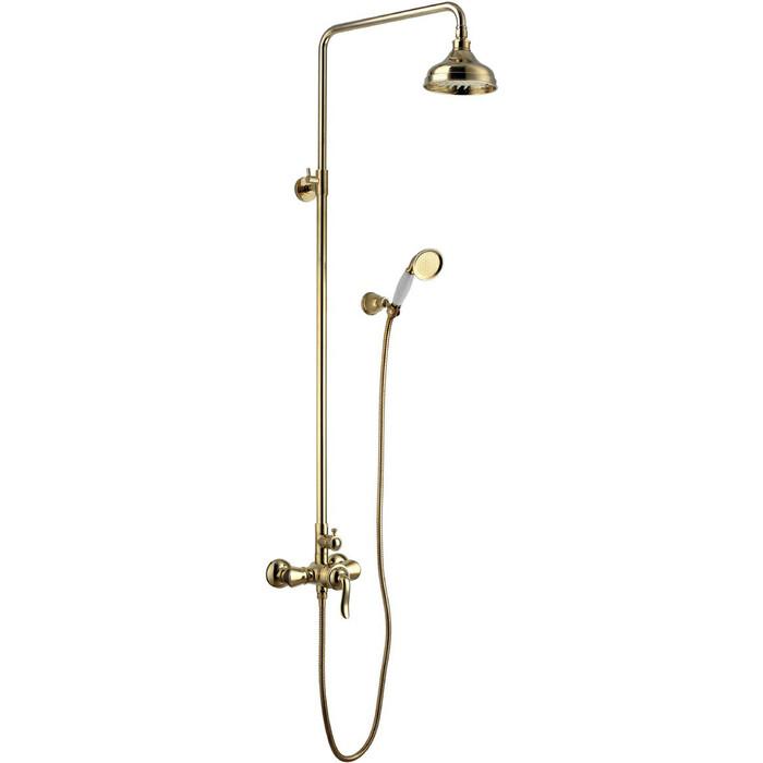 Душевая система Lemark Brava со смесителем, золото (LM4760G)