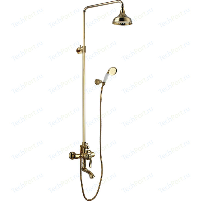 Душевая система Lemark Brava со смесителем, золото (LM4762G)