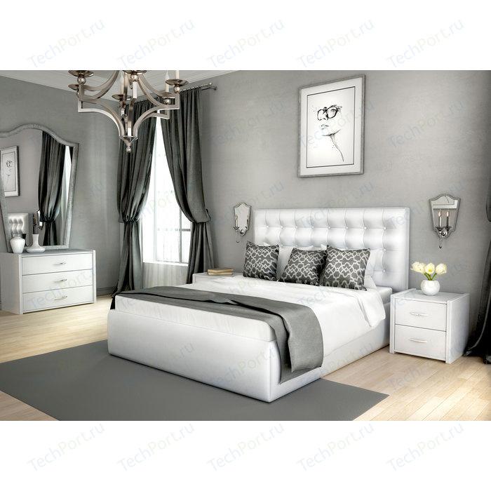 Кровать Lonax Аврора с основанием экокожа albert white (180x200 см)