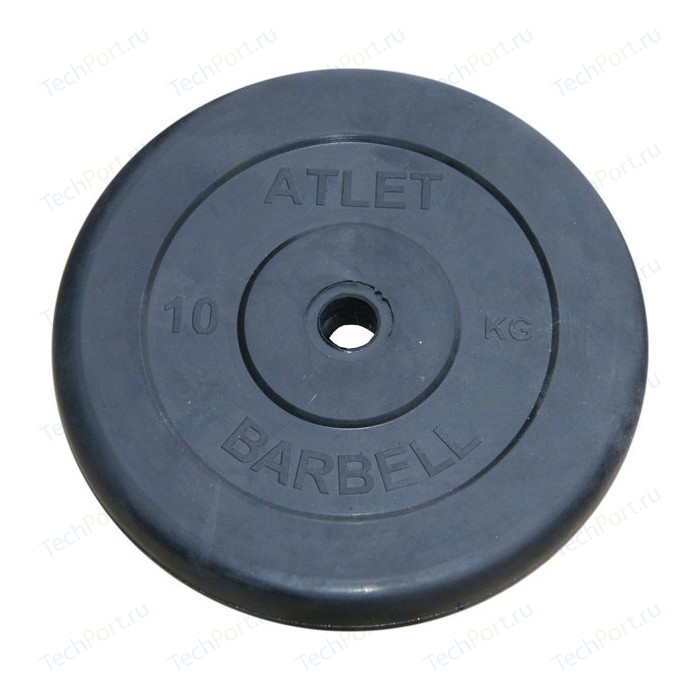 Диск обрезиненный Atlet 31 мм. 10 кг. черный