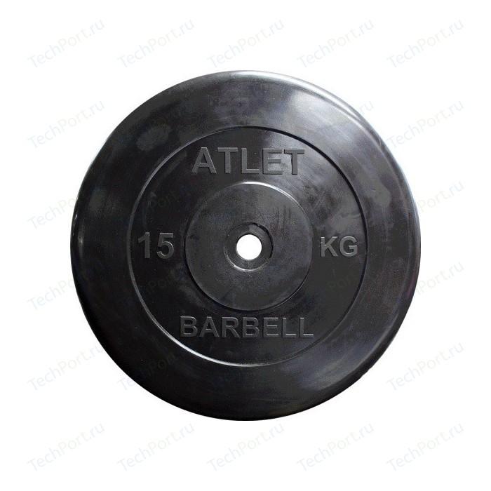 Диск обрезиненный Atlet 31 мм. 15 кг. черный