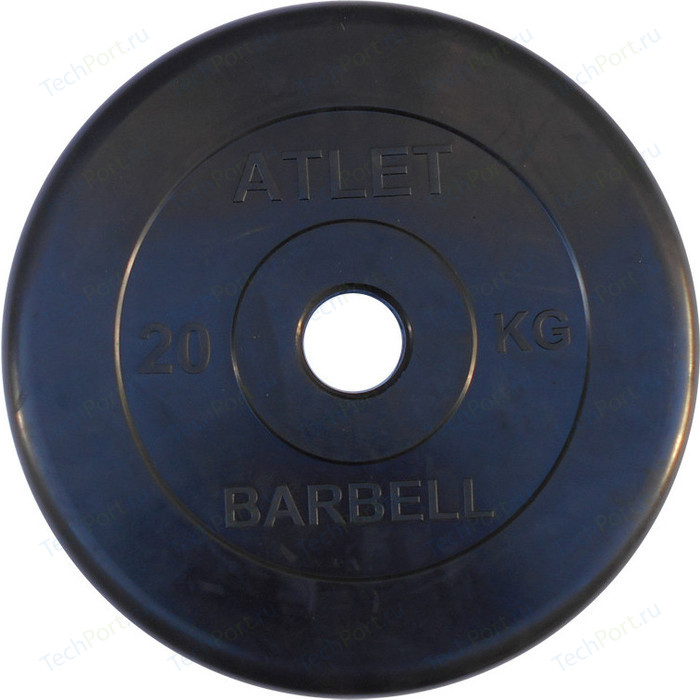 Фото - Диск обрезиненный Atlet 51 мм. 20 кг. черный диск обрезиненный atlet 31 мм 20 кг черный