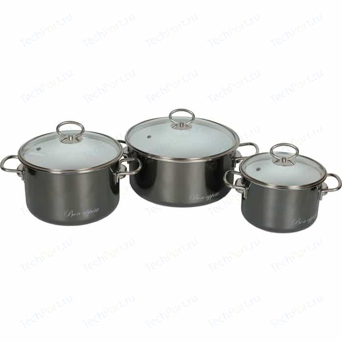 Фото - Набор кастрюль 3 предмета Vitross Bon Appetit (8DB035S мокрый асфальт) чайник со свистком bon appetit 2л мокрый асфальт