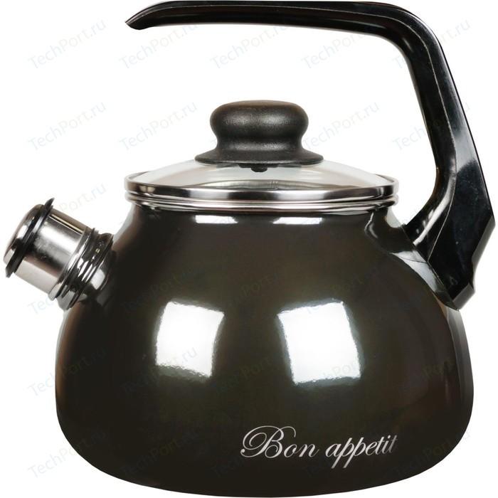 Фото - Чайник эмалированный со свистком 2.0 л Vitross Bon Appetit (1RA12 мокрый асфальт) чайник со свистком bon appetit 2л мокрый асфальт