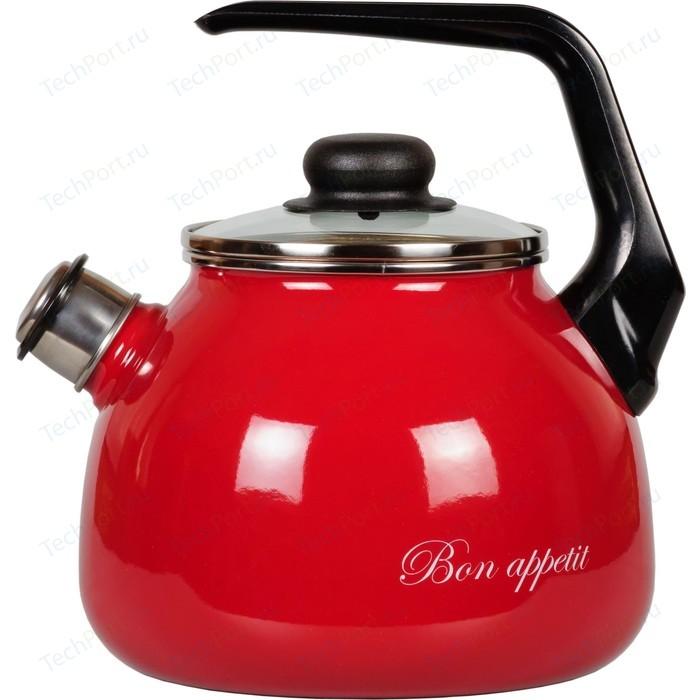 Чайник эмалированный со свистком 3.0 л Vitross Bon Appetit (1RC12 вишневый) стальэмаль чайник bon appetit со свистком 1rc12 3 л чёрный с зерном вишнёвый
