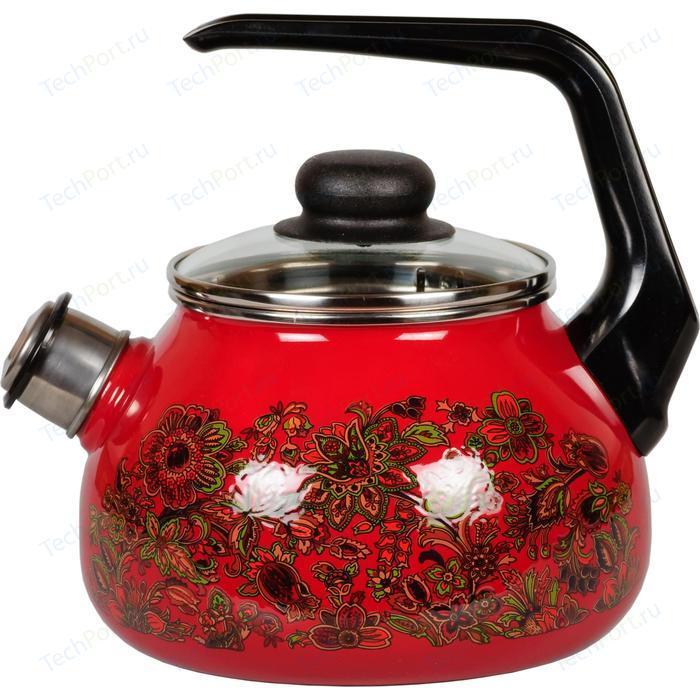 Чайник эмалированный со свистком 2.0 л Vitross Imperio (1RA12 вишневый)