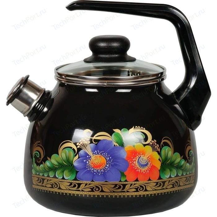 Чайник эмалированный со свистком 3.0 л СтальЭмаль Вологда (4с209я)