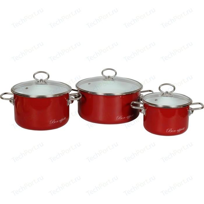 Набор кастрюль 3 предмета Vitross Bon Appetit №03 (8DB035S вишневый)