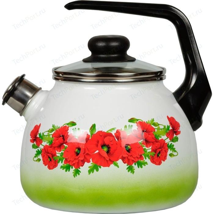 Чайник эмалированный со свистком 3.0 л СтальЭмаль Восточный мак (4с209я)