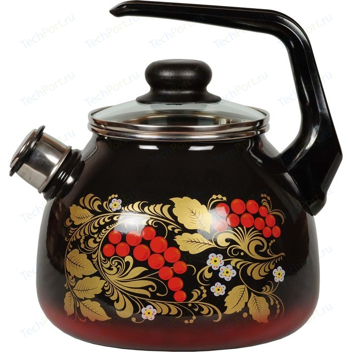 Чайник эмалированный со свистком 3.0 л СтальЭмаль Рябина (4с209я)