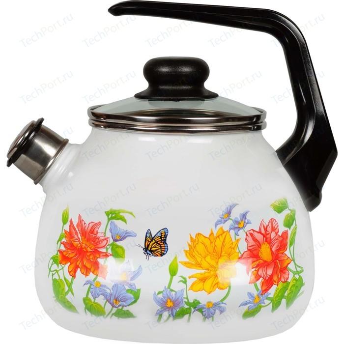 Чайник эмалированный со свистком 3.0 л СтальЭмаль Цветочный (4с209я)