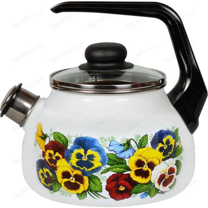 Чайник эмалированный со свистком 2.0 л СтальЭмаль Анютины глазки (4с210я)
