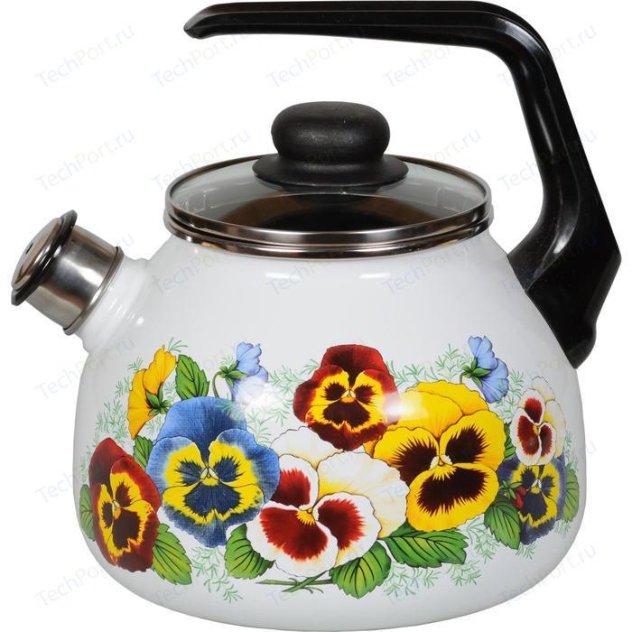 Чайник эмалированный со свистком 3.0 л СтальЭмаль Анютины глазки (4с209я)