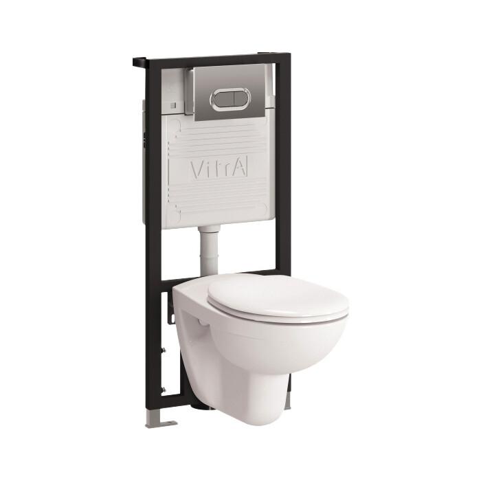 Комплект Vitra Normus унитаз с сиденьем + инсталляция кнопка матовый хром (9773B003-7203)