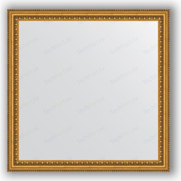 Зеркало в багетной раме Evoform Definite 62x62 см, бусы золотые 46 мм (BY 0777)