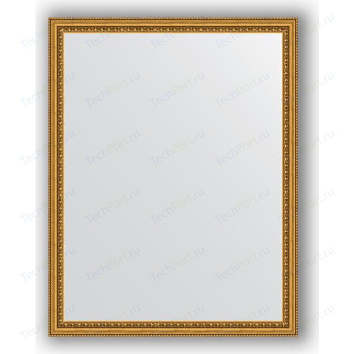 Зеркало в багетной раме поворотное Evoform Definite 72x92 см, бусы золотые 46 мм (BY 1037)