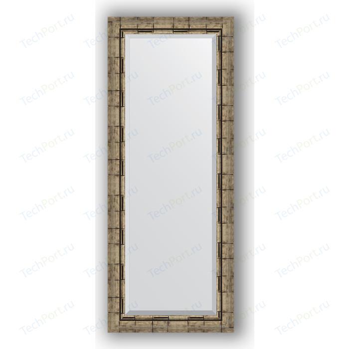 Зеркало с фацетом в багетной раме поворотное Evoform Exclusive 53x133 см, серебрянный бамбук 73 мм (BY 1156)