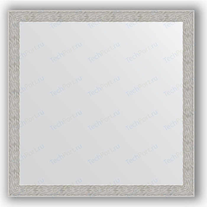 Зеркало в багетной раме Evoform Definite 71x71 см, волна алюминий 46 мм (BY 3230)