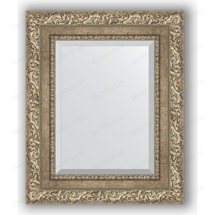 Зеркало с фацетом в багетной раме Evoform Exclusive 45x55 см, виньетка античное серебро 85 мм (BY 3357)