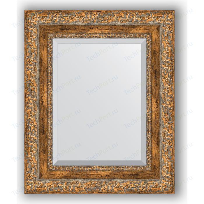 Зеркало с фацетом в багетной раме Evoform Exclusive 45x55 см, виньетка античная бронза 85 мм (BY 3358)
