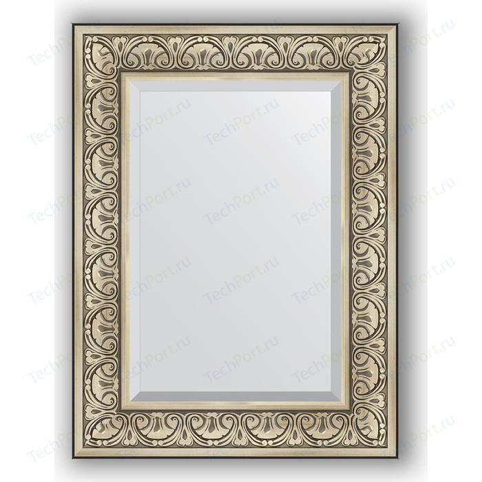 Зеркало с фацетом в багетной раме поворотное Evoform Exclusive 60x80 см, барокко серебро 106 мм (BY 3398)