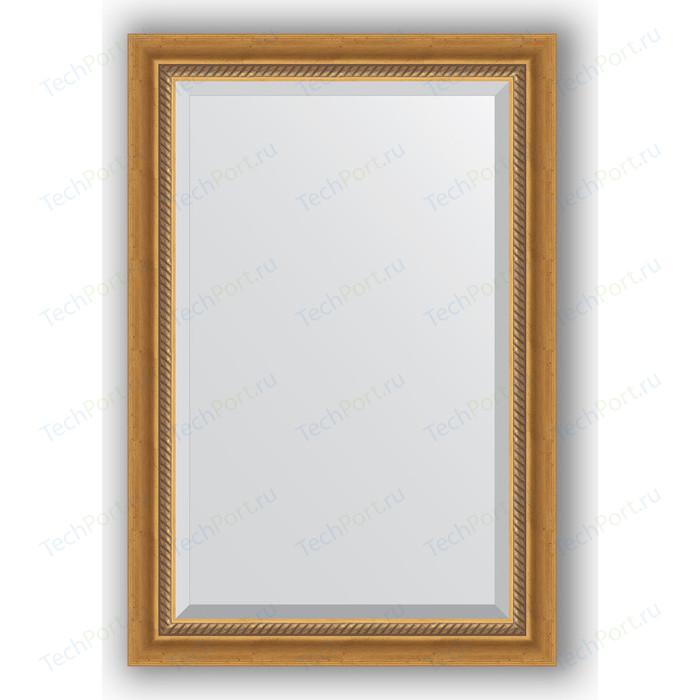 Зеркало с фацетом в багетной раме поворотное Evoform Exclusive 63x93 см, состаренное золото плетением 70 мм (BY 3431)