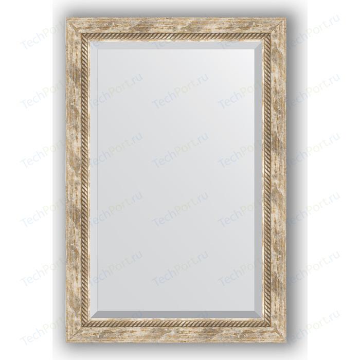 Зеркало с фацетом в багетной раме поворотное Evoform Exclusive 63x93 см, прованс плетением 70 мм (BY 3433)