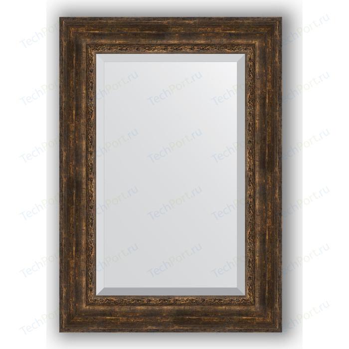 Зеркало с фацетом в багетной раме поворотное Evoform Exclusive 72x102 см, состаренное дерево орнаментом 120 мм (BY 3456)