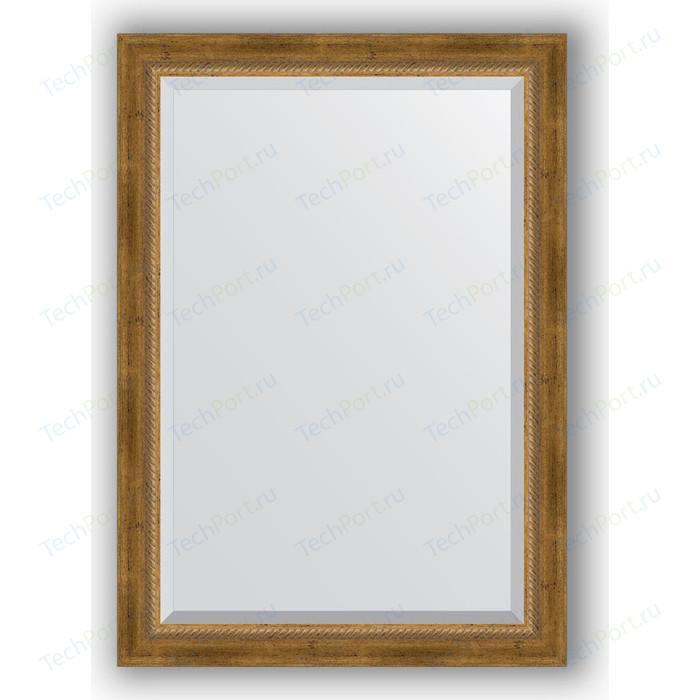 Зеркало с фацетом в багетной раме поворотное Evoform Exclusive 73x103 см, состаренное бронза с плетением 70 мм (BY 3458) зеркало evoform exclusive 133х53 состаренное бронза с плетением