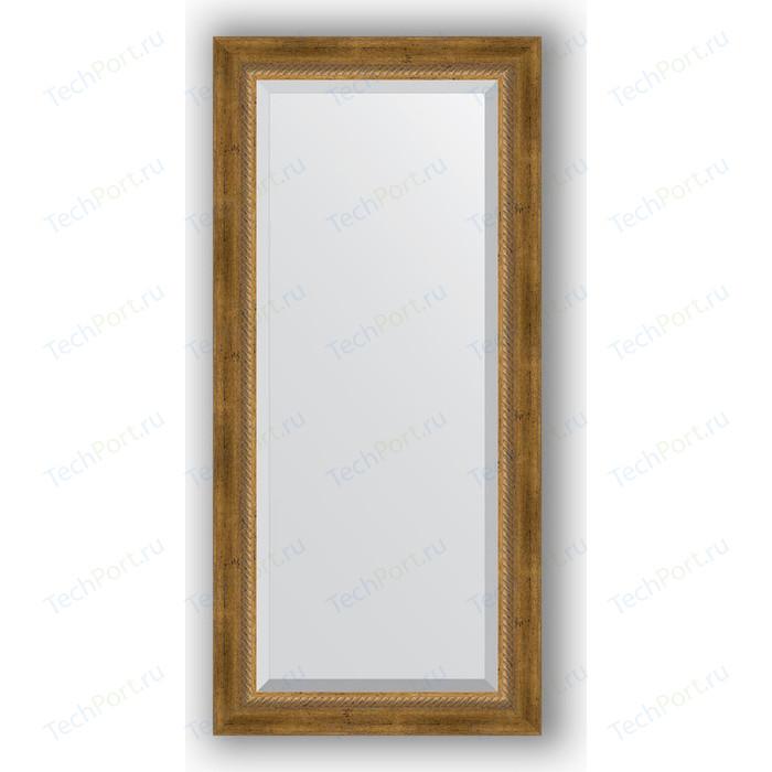 Зеркало с фацетом в багетной раме поворотное Evoform Exclusive 53x113 см, состаренное бронза с плетением 70 мм (BY 3484) зеркало evoform exclusive 133х53 состаренное бронза с плетением