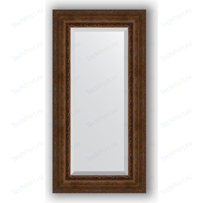 Зеркало с фацетом в багетной раме поворотное Evoform Exclusive 62x122 см, состаренная бронза орнаментом 120 мм (BY 3507)